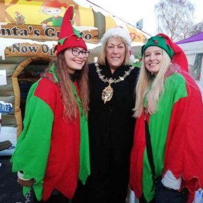 The Mayor Of Charnwood Cllr Brenda Seaton And Santa's Elves